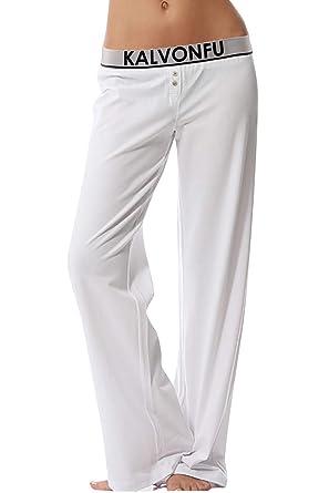 YAOMEI Mujer Pantalones de Pijama Algodón Modal, Pantalones ...