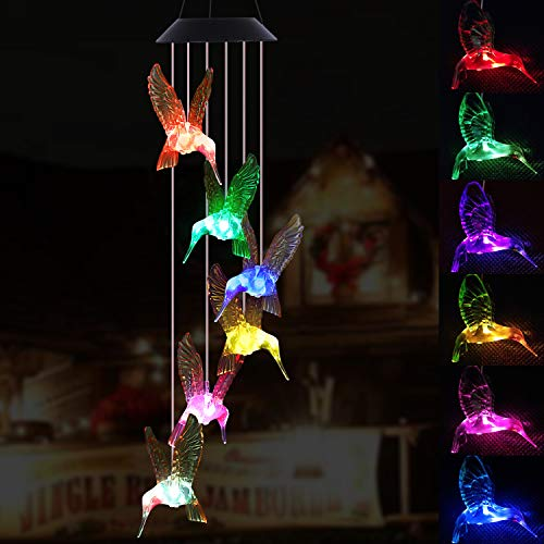 LED Hummingbird Solar Wind Chimes Light Outdoor Hanging - Waterproof Mobile Romantic Solar Powered Changing Color Xmas Gifts Wind Chimes for Home, Party, Festival, Night Garden Decoration(Blackboard) (Christmas Mobile Decorations)