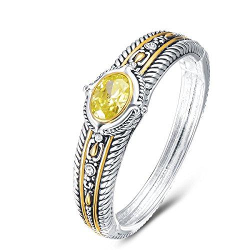 (UNY Fashion Brand David Jewelry Double Wire Vintage Bangle Elegant Beautiful (Yellow))