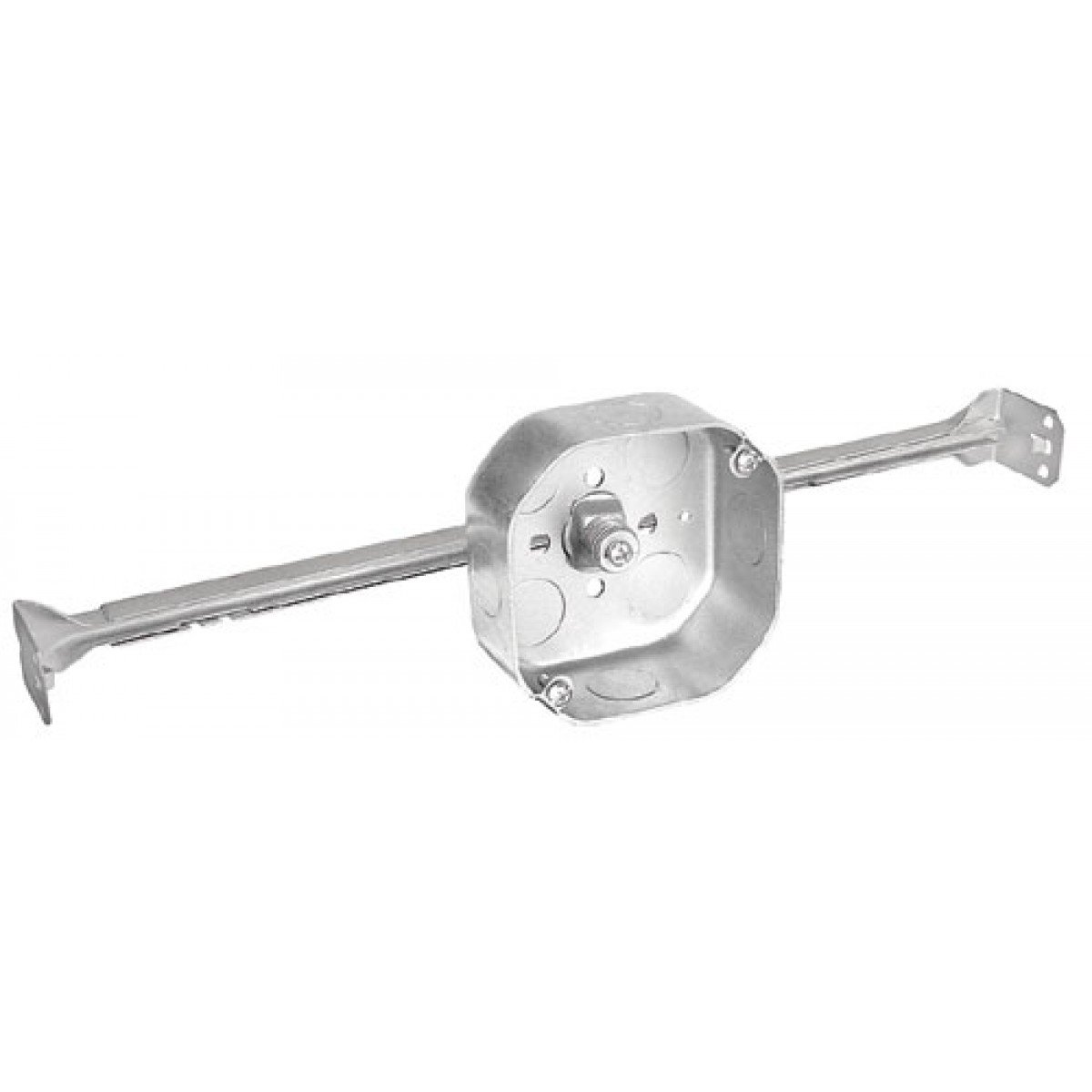 2 Pcs, .0625 Galvanized Steel 4 In. Octagon Box, 1-1/2 In. Deep, New Construction Adjustable Bar Hanger, 1/2 In. Side Knockouts; 1/2 & 3/4 In. Bottom Knockouts For Fixtures, Junction Boxes