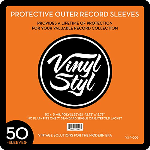 Vinyl Styl 72261 Protective Outer Record Sleeves - 50 Pack by Vinyl Styl