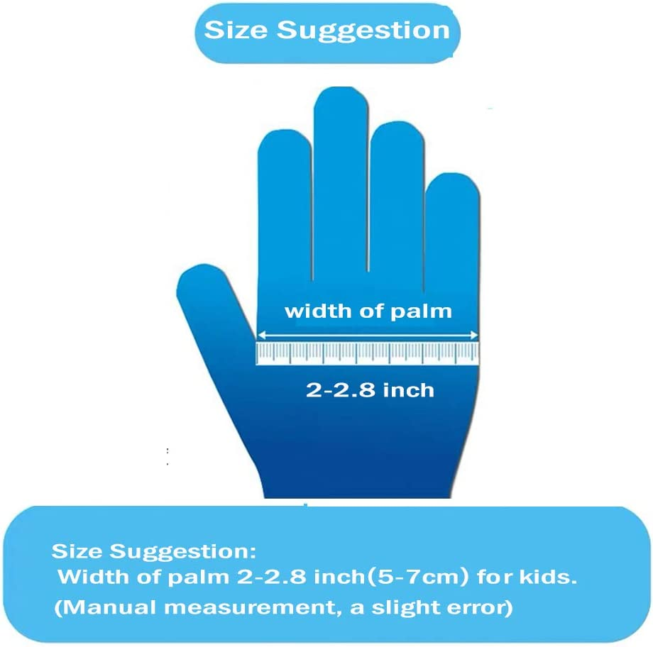 50PCS- Blue Crafting Powder Free Cleaning Cooking Latex Free Multipurpose Disposable Nitrile Gloves for Kids of 5-12 Years Students Painting,Gardening Textured Finger