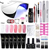 COSCELIA 6 Colors Poly Nail Gel Kit with 36W LED Nail Lamp Nail Extension Gel Professional Nail Technician All-in-One French Kit