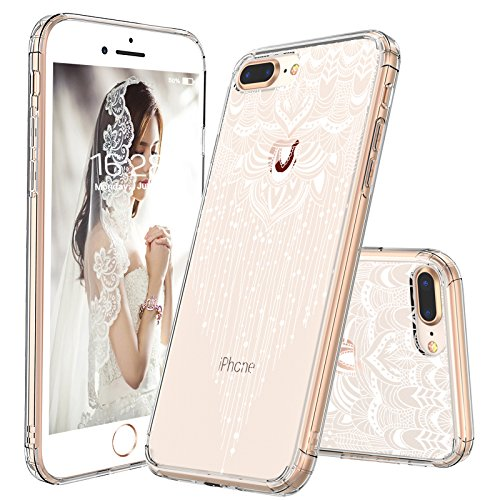 iPhone 7 Plus Case, iPhone 8 Plus Case, MOSNOVO White Henna Mandala Floral Tassel Pattern Clear Design Plastic with TPU Bumper Protective Cover for Apple iPhone 7 Plus (2016) / iPhone 8 Plus (2017) ()