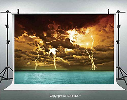 Photo Backdrop Flash Storm Over The Lake with Large Rain Clouds Miracle Solar Illumination Photo 3D Backdrops for Interior Decoration Photo Studio Props]()