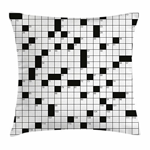 TINA-R Word Search Puzzle Throw Pillow Cushion Cover, Classical Crossword Puzzle with Black and White Boxes and Numbers, Decorative Square Pillow Case, 18 X 18 Inches, Black and White