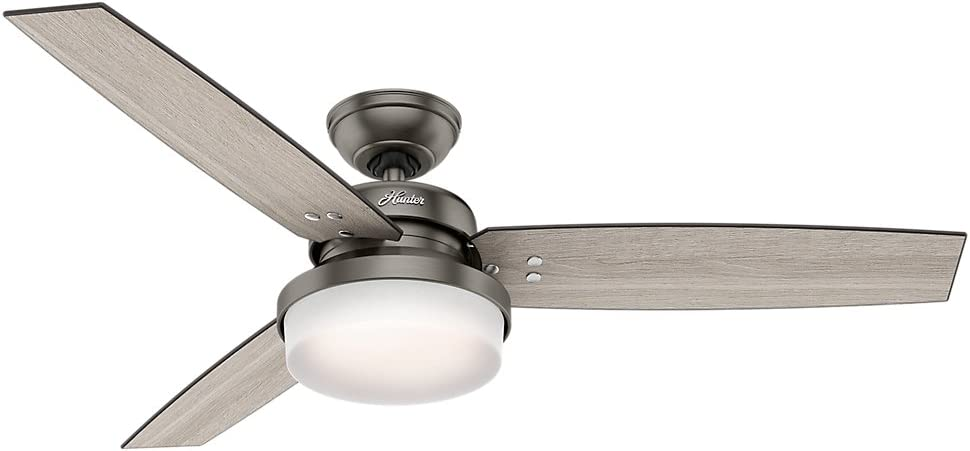 Hunter Indoor Ceiling Fan with LED Light and remote control – Sentinel 52 inch, Brushed Slate, 59211
