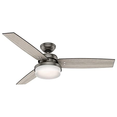 Hunter Fan Company Hunter 59211 52 Sentinel Ceiling Fan with Light and Remote, Brushed Slate