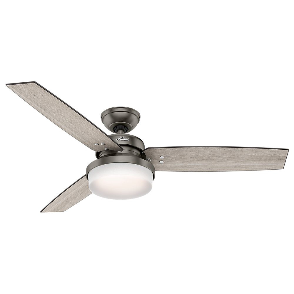 Hunter 59211 52'' Sentinel Ceiling Fan with Light and Remote, Brushed Slate