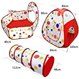 Kids Play Tent Tunnel Set,3 in 1 Children Baby Play House Tent Ball Pool Pop Up Kids Indoor Outdoor Toys Tunnel, Ball Pool and Zipper Storage Bag for Toddlers Child