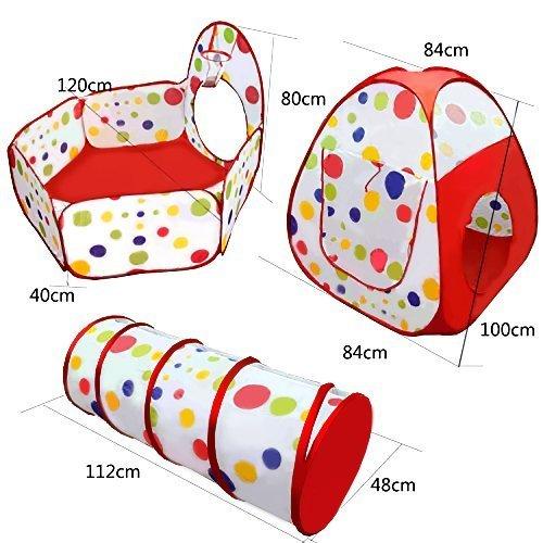 Kids再生テントトンネルセット、3 in 1 Children Baby Play HouseテントボールプールポップアップKidsインドアアウトドアおもちゃトンネル、ボールプール、ジッパー、ストレージバッグfor Toddlers子 B078XPS6JN