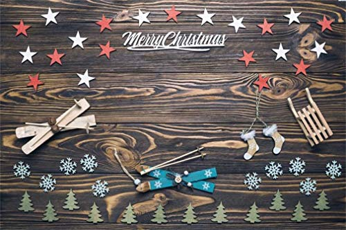 Yeele 6x4ft Merry Chrismas Backdrop Winter Ski Snowflake Vintage Board Background for Photography Party Banner Kids Children Adult Photo Booth Shoot Vinyl Studio - Ski Snow Kids Shape