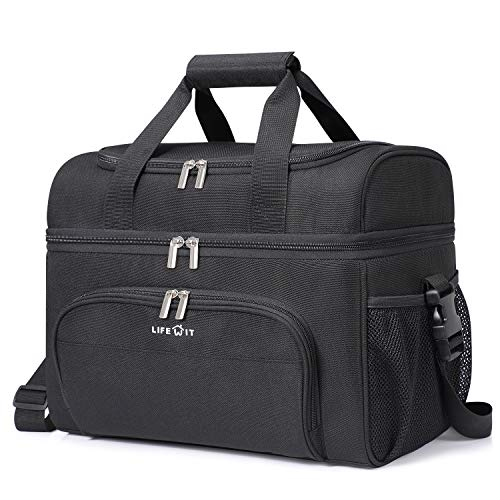 Lifewit Collapsible Cooler Bag 32-Can Insulated Leakproof Soft Cooler Portable Double Decker Cooler Tote for Trip/Picnic/Sports/Flight, Black