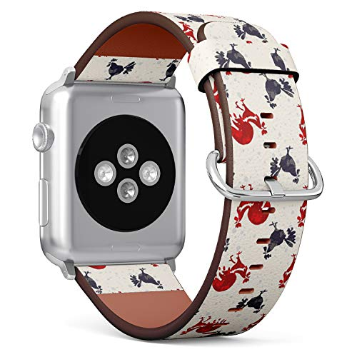 [ Compatible Big Apple Watch 42mm / 44 mm ] Replacement Leather Band Bracelet Strap Wristband Accessory // Roosters Speckled Hand