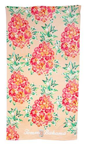 Tommy Bahama 35 x 66 Pink Orange Hibiscus Flower Pineapple On Peach Background Beach Towel