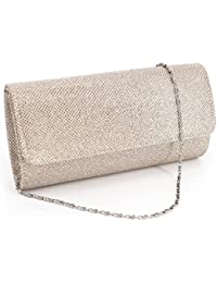 Flap Dazzling Small Clutch Bag Evening Bag Detachable Chain (Champagne)