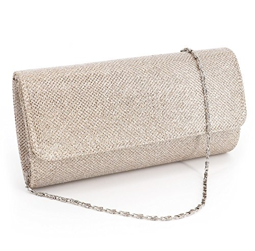 Naimo Flap Dazzling Small Clutch Bag Evening Bag With Detachable Chain (Champagne)