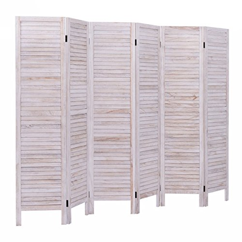 AVIGNON HOME Tall-Extra Wide-Diamond Weave Fiber Room Divider,Double Hinged,Room Divider/Screen, Room Dividers and Folding Privacy Screens, Freestanding Room Dividers (Natural, 6 Panel)