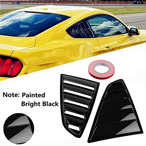 - Lindsie-Box - 2pcs Car Quarter Side Rear Window Louvers Scoop Cover Five Slot Open Louvers Cover Vent For Ford For Mustang Fastbacks 2015-