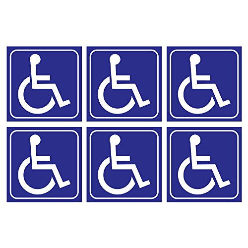 (6 Pack) Handicap Wheelchair Vinyl Laminated Stickers 3 x 3 Inch ADA Compliance Handicapped Accessible Placard Sign - Perfect for Restroom Bathroom Entrance Door Vans Cars Motorcycle Ramps Reserved (Handicap Accessible Signs)