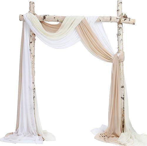 SHERWAY 3 Panels Chiffon Fabric Drapery Wedding Arch Drapes