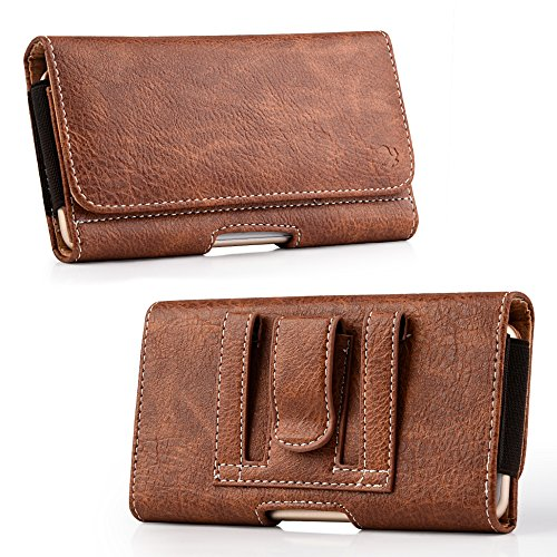 [World Acc] Premium PU Leather Pouch Holster Belt Clip Case For Samsung Galaxy Halo / J7 Perx / J7 Prime / J7 Sky Pro / J7 V (Premium Brown/Brown PU - Acc Belt