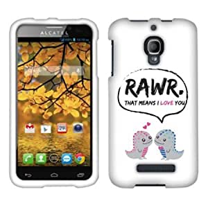 Cerhinu Fincibo (TM) Alcatel One Touch Fierce 7024W Protector Cover Case Snap On Hard Crystal - Dinosaurs Love Story,...