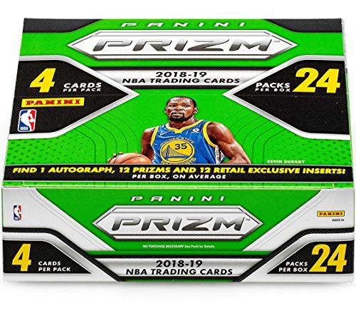 2018-19 Panini Prizm Basketball Retail Box (24 Packs/4 Cards: 1 Auto, 24 inserts, Per Box, On Average) ()