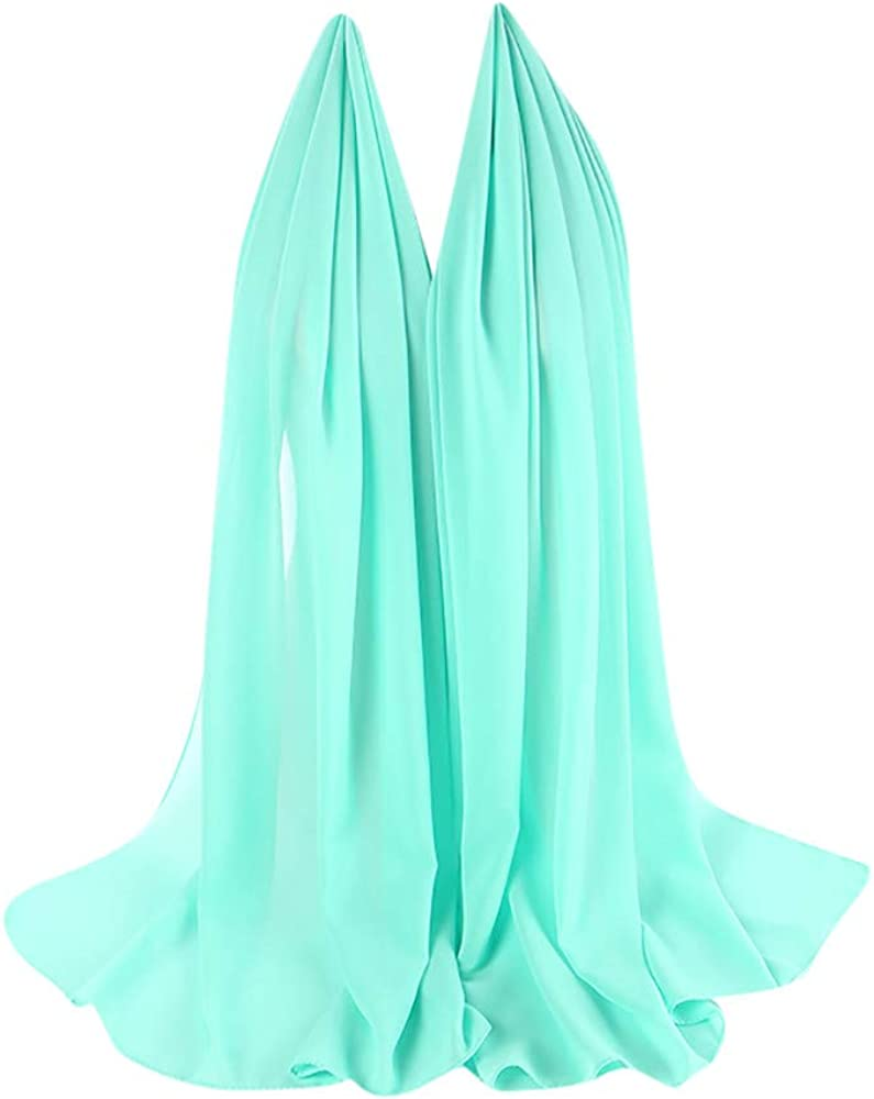 Scarf For Women KIKOY Super Soft Plain Bubble Chiffon Shawls Headband Muslim Hijabs