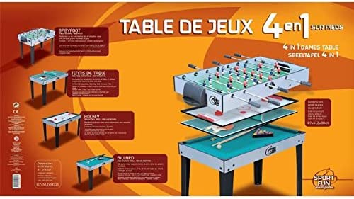 Générique Sport and Fun 5847 - Mesa de Juegos 4 en 1 con pie, unisexm Infantil, Verde: Amazon.es: Deportes y aire libre