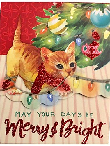 - Punch Studio Gem Glitter Embellished Mini Pocket Notepad, Christmas Kitten Merry & Bright 64590