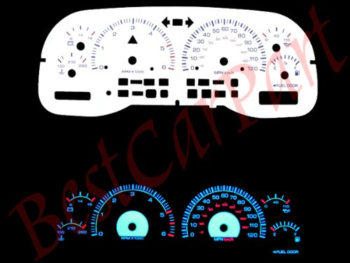 - Brand New White Face Blue Indigo Reverse Glow Gauges For 97-00 Dodge Dakota/Durango (I-254)
