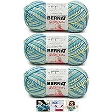Bernat Softee Baby Acrylic Yarn 3 Pack Bundle Includes 3 Patterns DK Light Worsted #3 (Aquarium Varg)
