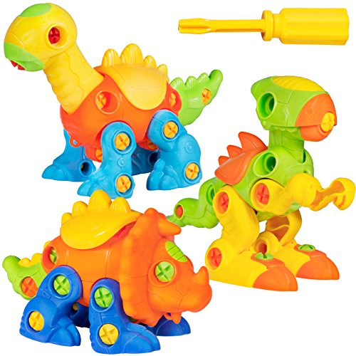 Best Choice Products 106-Piece Set of 3 Kids Take-Apart Dinosaurs Puzzle Build STEM Learning Toy Playset w/ Plastic Screws and Screwdriver Tools - Multicolor