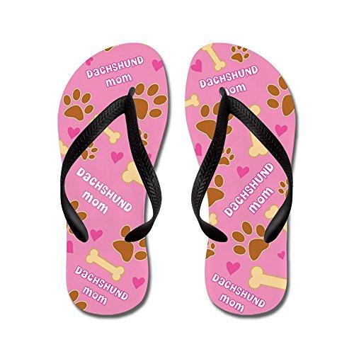 Cafepress Dachshund Moeder Cadeau - Flip Flops, Grappige String Sandalen, Strand Sandalen Zwart