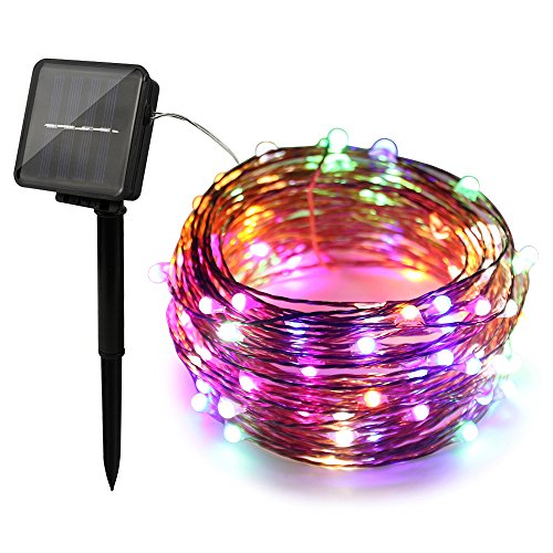 ErChen Dual-Color Solar Powered LED String Lights 33FT 100 LEDs Color Changing 8 Modes Waterproof Copper Wire Decorative Fairy Lights for Outdoor Garden Patio(Warm White/Multicolor)