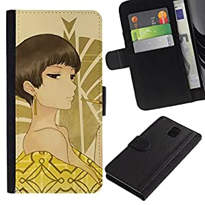 All Phone Most Case / Oferta Especial Cáscara Funda de cuero Monedero Cubierta de proteccion Caso / Wallet Case for Samsung Galaxy Note 3 III // Japanese Anime Girl