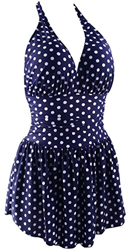 Fitglam Women's 50s Retro Swimdress Swimsuit One Piece Halter Monokini Swimwear Blue Dots Swimdress, Size 14 (fits US 12-14)