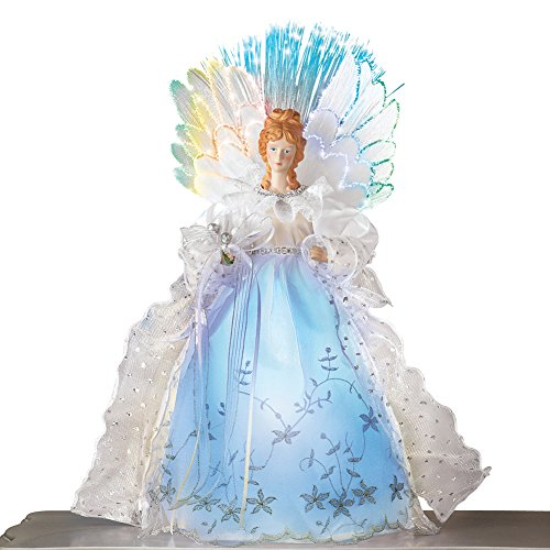 Fiber Optic Winter Angel Christmas Tabletop Figurine Decoration with White Lace Gown and Color Changing Wings