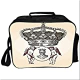 "Medieval Lunch Box Portable Bag,Illustration Shield Design Art With Crest Badge Medallion Angel Royal for Kids Boys Girls,10.6""Lx4.7""Wx8.2""H"