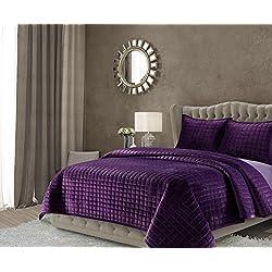 TRIBECA LIVING FLORENCEQUIQUPU Florence Velvet Oversized Solid Quilt Set, Queen, Purple