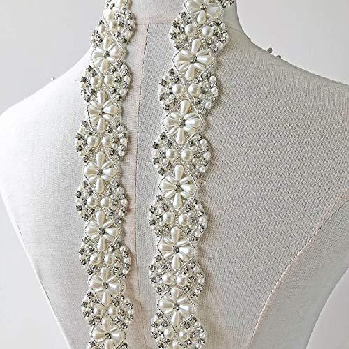 Elegant Pearl Rhinestone Trims Diamante Applique Trimming Decorative Embellished Fringe for Bridal Gown Sashes Belt Veiling