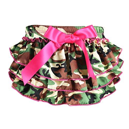 Wennikids Newborn Baby Christmas Satin baby ruffle bloomers Diaper Covers Large (Camouflage Ruffle)
