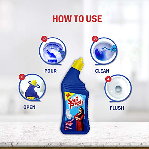 Sanifresh Ultrashine 1L Toilet Cleaner -1.5X Extra Strong Extra Clean (Pack of 3)