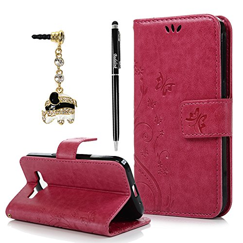 Core Prime Case,Galaxy Core Prime Case - Fashion Wallet Purse 3D Embossed Butterflies PU Leather Kickstand Flip Cover Shockproof TPU Inner Bumper Hand Strap Dust Plug Stylus Pen by Badalink - Hot Pink