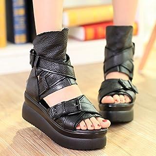 GTVERNH-Les Sandales De Cuir Épais Prisme Bas Muffin Femmes À Rome Avec Des Chaussures De Creux Black