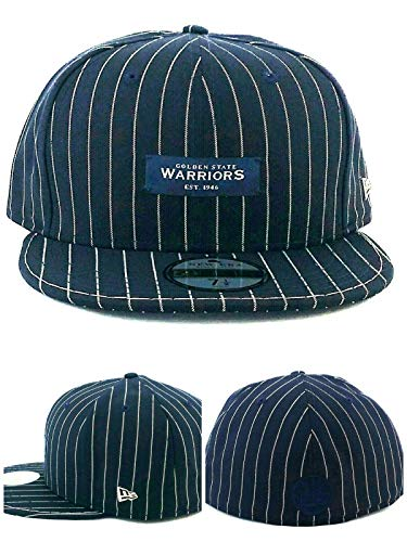 New Era Golden State Warriors 59Fifty Black Label Luxe Pinstripe Navy Blue White Fitted Hat 7 1/2