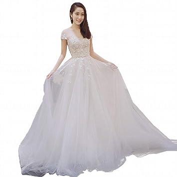 YT-ER Fantasía Maravilloso Piso Longitud Boda Princesa Simple Perspectiva Hermosa Trasera Ángel Boda Vestido