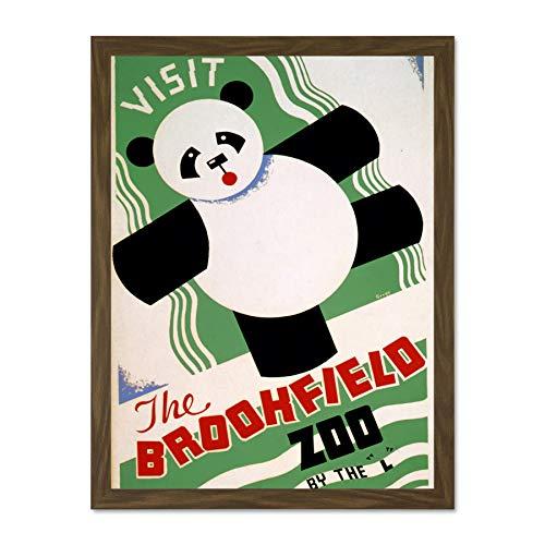 Wee Blue Coo Advertising Cultural Advert Brookfield Zoo Panda Bear Art Large Framed Art Print Poster Wall Decor 18x24 inch -