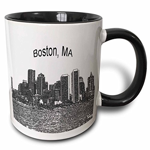 3dRose mug_21731_4 Boston Downtown Skyline Line Art - Two Tone Black Mug, Multicolored, 11 oz -